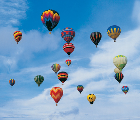 Hot air balloons in the sky