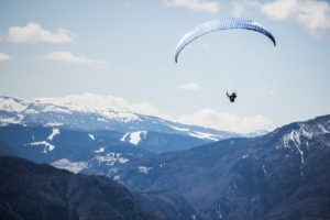 Paraglider in the clouds