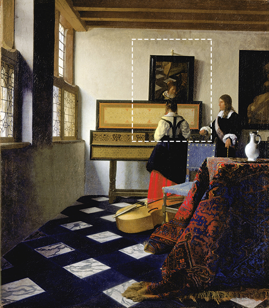 reflections in animation: Vermeer painting The Music Lesson