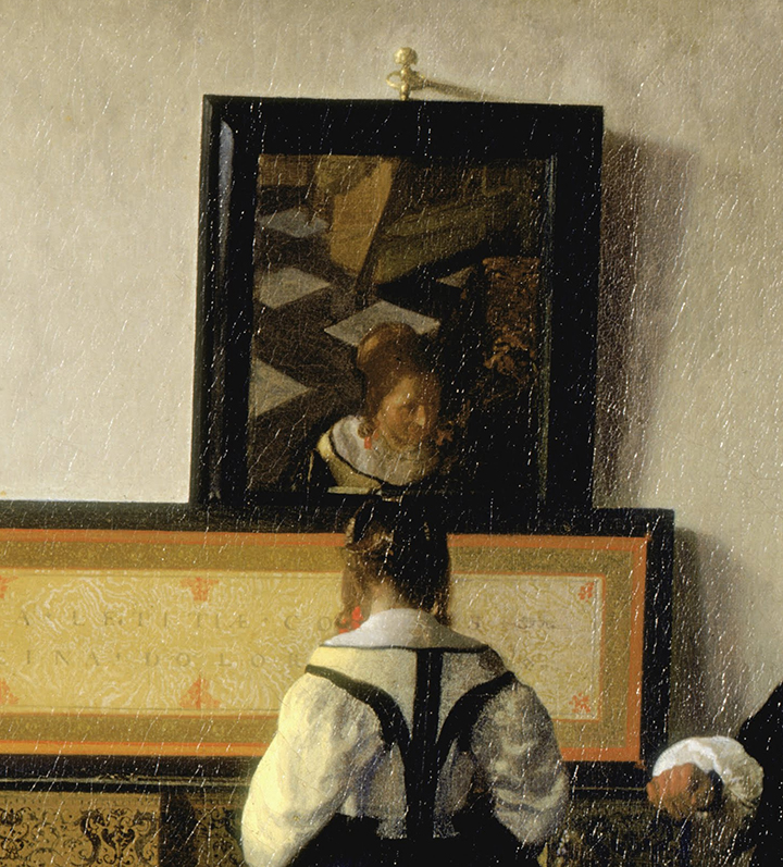 Vermeer painting The Music Lesson zoomed in on the mirror behind the piano